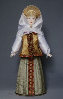 Doll gift porcelain. Nizhny Novgorod province. Russia. Women's festive costume. The late 18th - early 19th century