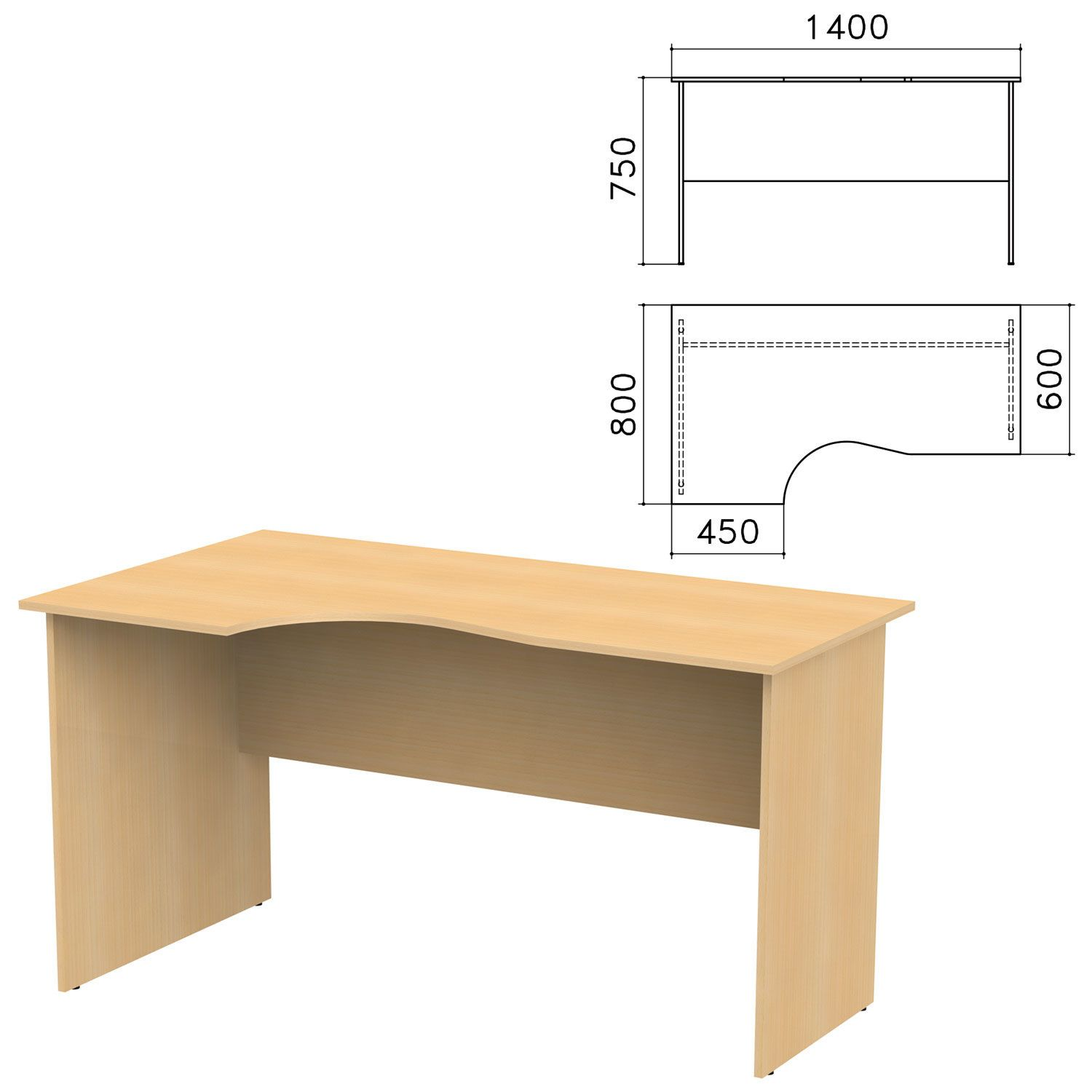 "Table written ergonomic ""Kanz,"" 1400 x800s750 mm, left, color beech Nevsky"