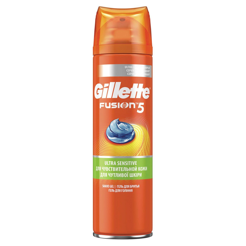 """GILLETTE / Shaving Gel 200 ml Fusion """"For sensitive skin"""" for men"""