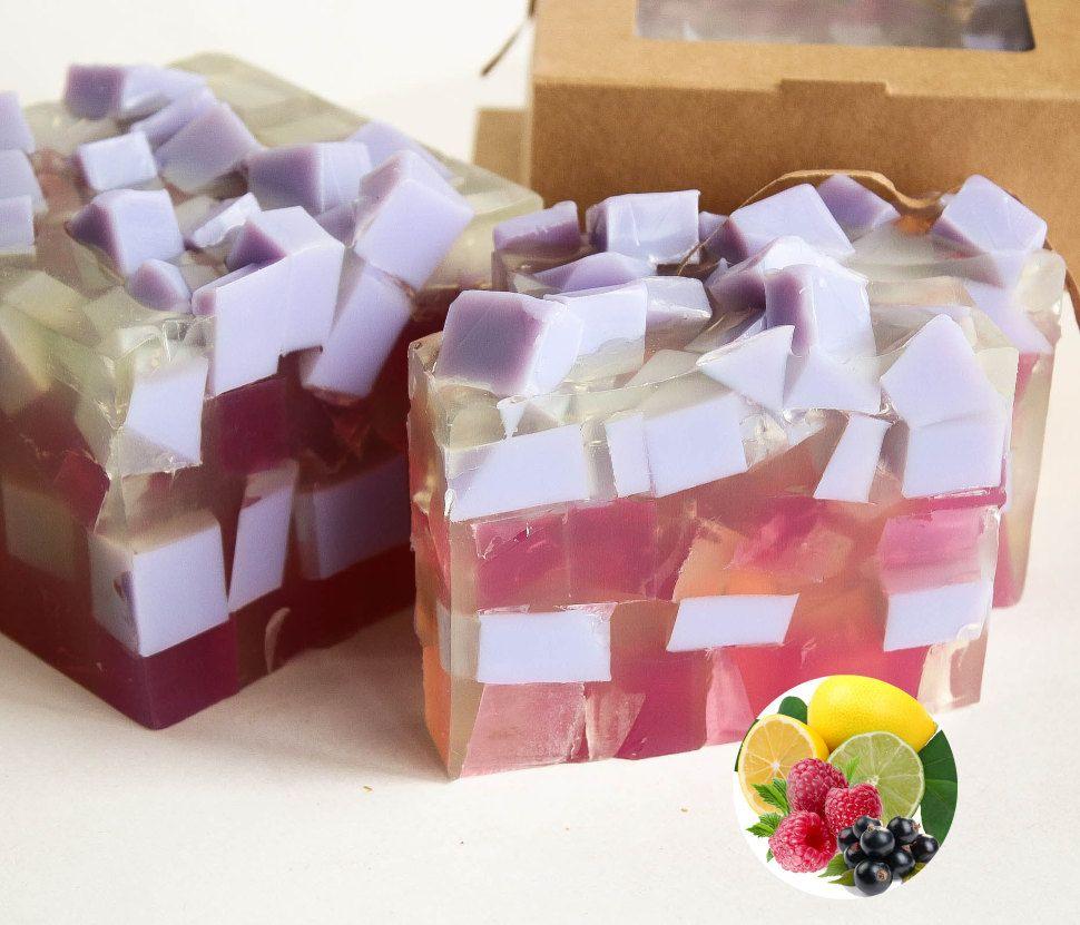 Black currant-Raspberry-Honey bar 1 kg - handmade soap
