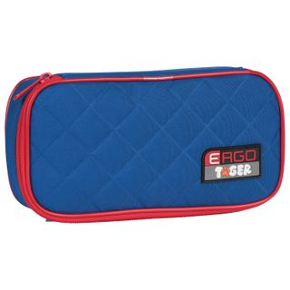 Pencil case TIGER FAMILY, 1 compartment, hinged, folding strap, blue/red, 23x7x11 cm