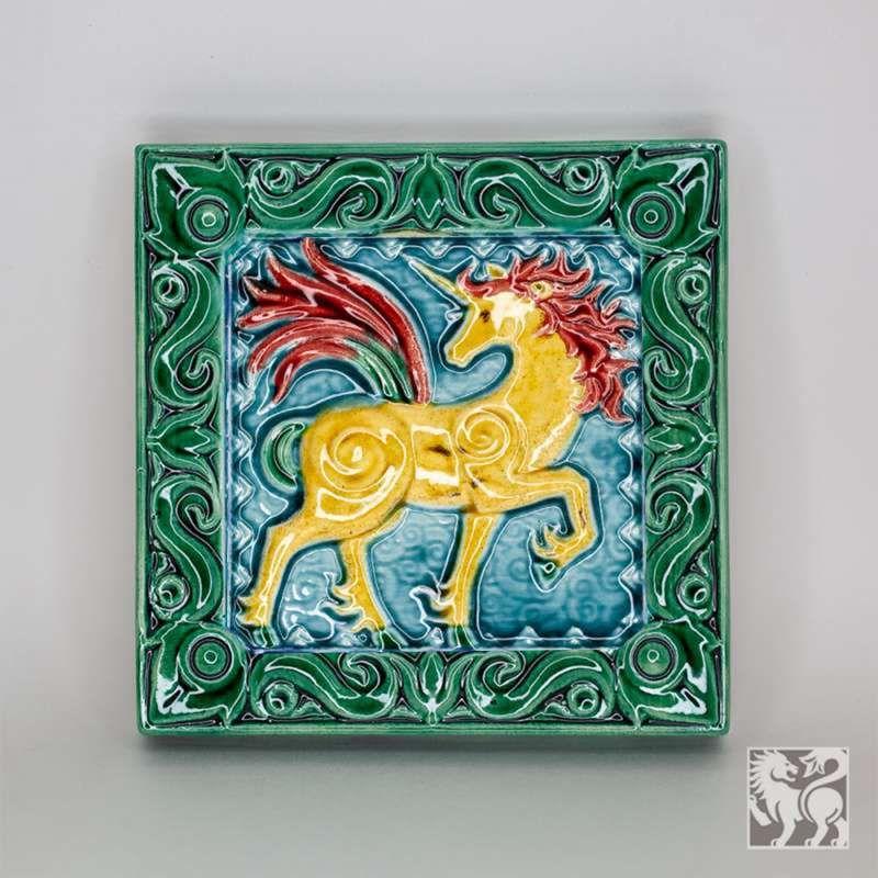 "Yaroslavl majolica / Tile ""Unicorn"", green"
