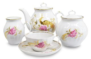 Dulevo porcelain / Tea set 15 pcs. White Swan Firebird