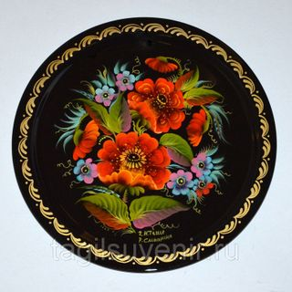 """Metal round tray """"Flowers. Roses - chamomiles - poppies"""" 170 mm - exclusive painting on metal"""