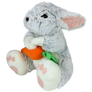 Gray plush rabbit with carrot