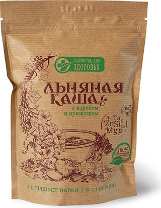 Dry cereals based on flax seeds: Flax porridge with carob and sesame seeds, 400g