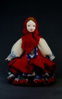 Doll gift porcelain. Matryoshka. Traditional festive suit (styling). 19th century. Russia.