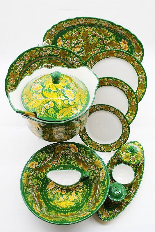 Dulevo porcelain / Table service 35 pcs Anniversary Khokhloma painting