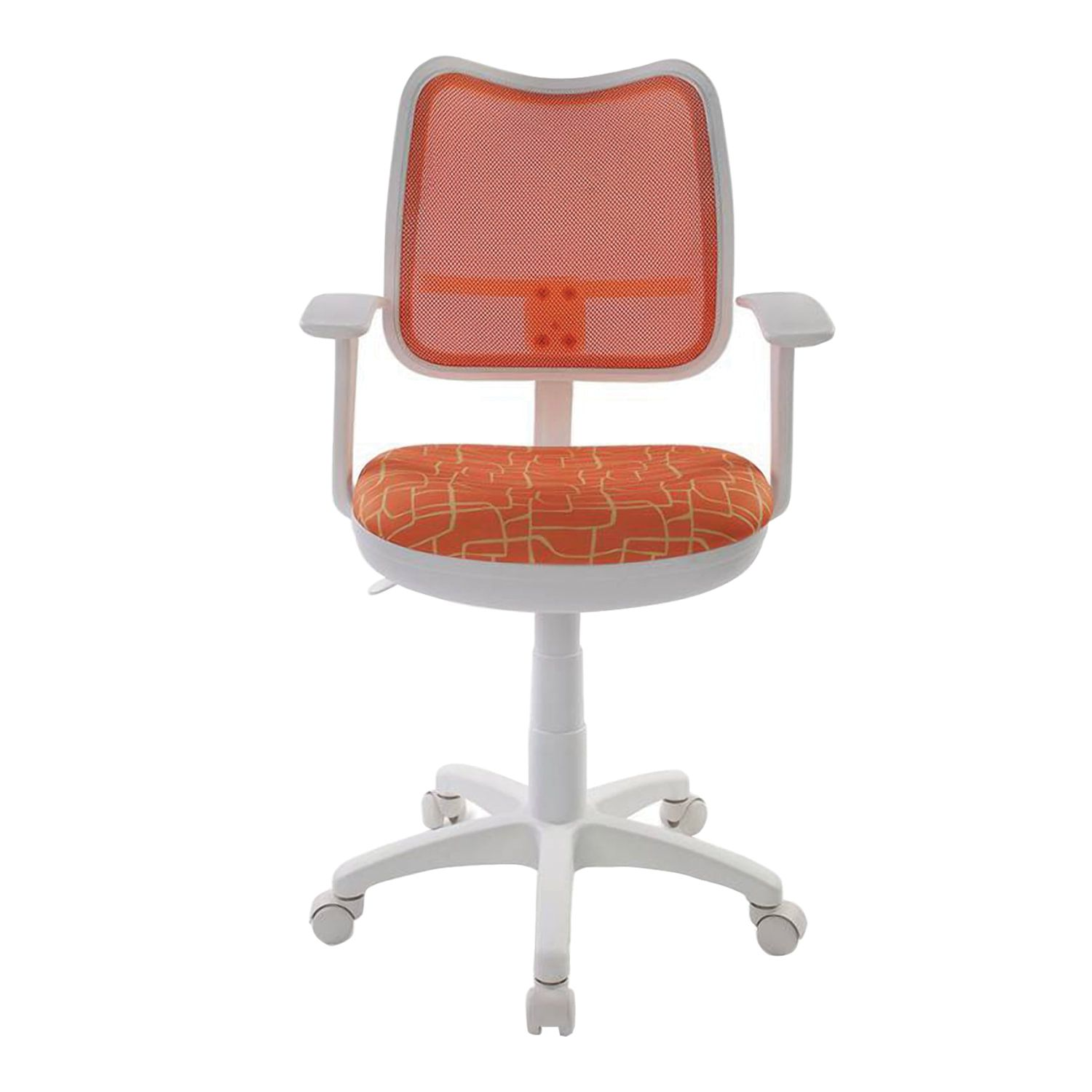 Armchair CH-W797 / OR / GIRAFFE with armrests, orange with a pattern, white plastic