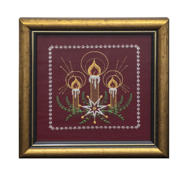 Mural 'Christmas candles' Burgundy with gold embroidery