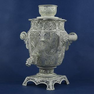 Souvenir Samovar silvering, Kazakovskaya Filigree