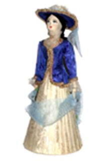 Doll gift porcelain. The young lady in walking costume. The end of the 19th century, Russia