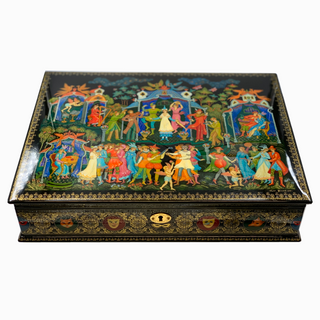 "The casket Palekh ""the masquerade Ball"", 34*25*8,5 master Sirakov"