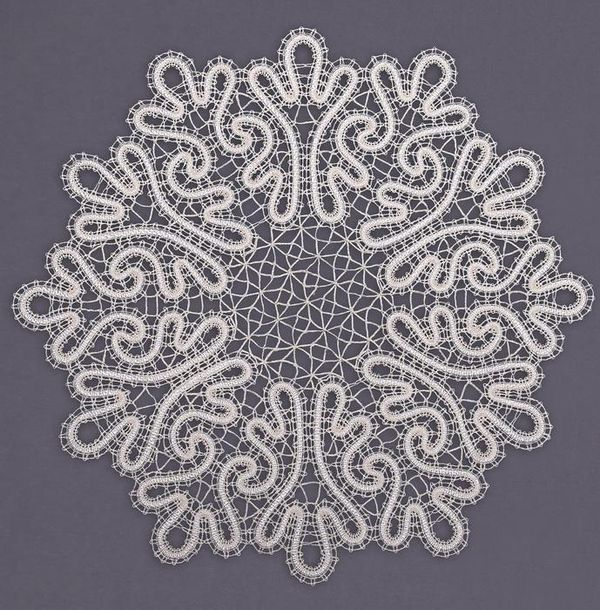 Doily round lace with floral ornaments