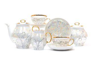 Tea set 15 pcs White Swan Morozko