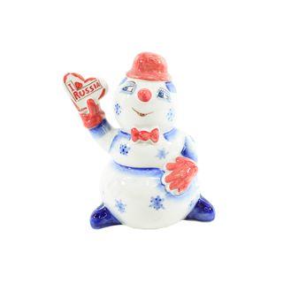 The sculpture Snowman with heart paint 1st grade, Gzhel Porcelain factory