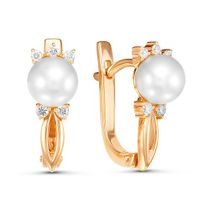 EARRINGS, PEARL CHER, RED GOLD