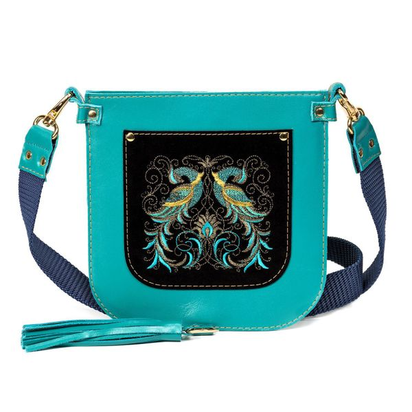 Leather bag 'the Firebird' blue with gold embroidery