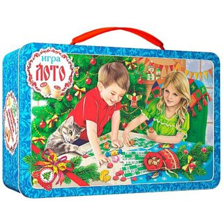 """New Year's gift Suitcase """"New Year's loto"""", a set of sweets 450g."""