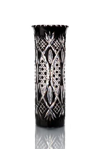 "Crystal vase for flowers ""Beads"" large black"