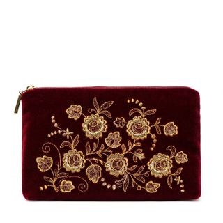 "Velvet cosmetic bag ""Spring mood"" Burgundy with gold embroidery"