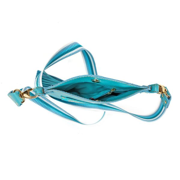 Leather handbag Argo blue in color with Golden embroidery