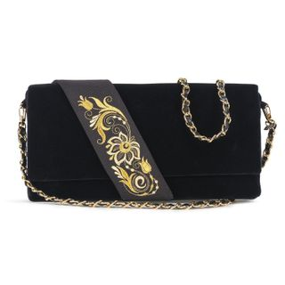 Velvet clutch Lady black with gold embroidery