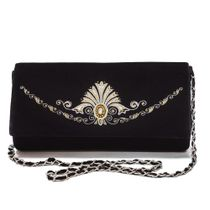 Velvet clutch 'Jewel' in black with gold embroidery