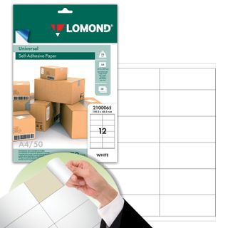 Label 105х48 mm self-adhesive, 12 labels, white, 70 g/m2, 50 sheets, LOMOND