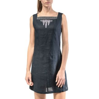 Dress womens breeze blue with silver embroidery