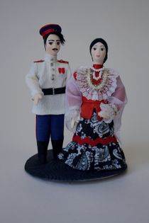 Doll gift porcelain. Cossack Cossack on the stand