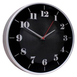 Wall clock TROYKA 77777740, round, black, silver frame, 30,5h30,5x5 cm