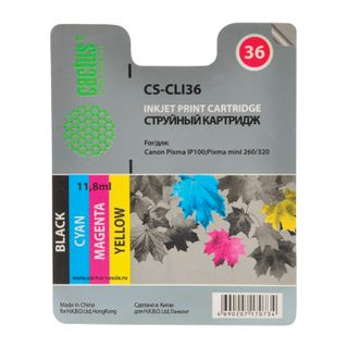 Inkjet cartridge CACTUS (CS-CLI36) for CANON PIXMA iP100, color, yield 250 pages.