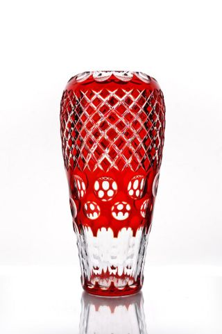 """Crystal vase for flowers """"Cascade"""" large red"""
