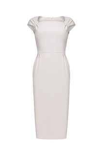 Dress with draping on the shoulders and long ties-belts