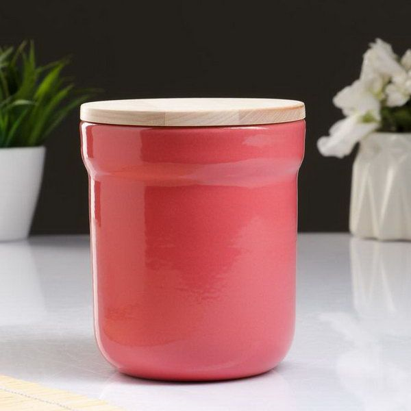 Vyatka ceramics / A set of containers with a lid, a volume of 0.2 liters, 12 pcs. (Pink)