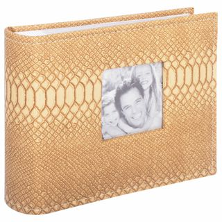 BRAUBERG photo album for 100 photos 10x15 cm cover under the skin of reptiles, paper page, box, beige