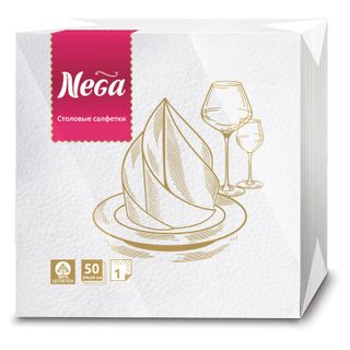 NEGA / White paper napkins 2-ply 24x24 cm, 100% cellulose, 50 pcs.
