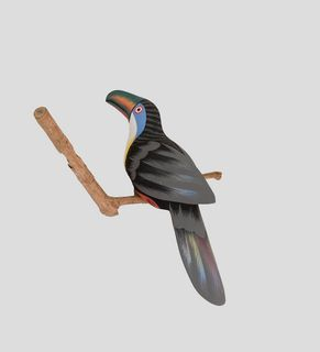 """Wooden figurine """"Toucan on branch"""" 30 cm"""