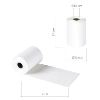 Receipt tape thermal PAPER 57 mm (diameter 40 mm, length 20 m, the sleeve 12 mm) SET of 8 PCs, 48 g/m2 STAFF