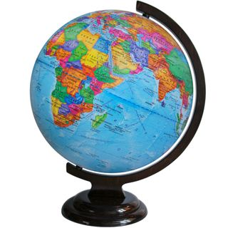 Political globe with a diameter of 320 mm on wooden stand