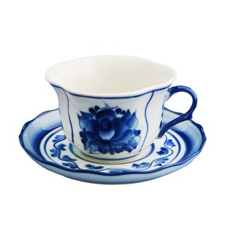 Cup of tea the pair Buttercup 2nd grade, Gzhel Porcelain factory