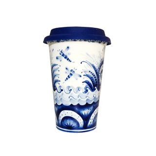 Author's coffee Cup with silicone lid No. 11, Gzhel Porcelain factory