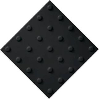 PVC tactile tile, black, with a linear arrangement of cones, size - 300 x 300 mm
