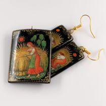 Set Palekh earrings, pendants, master Kuzmenko