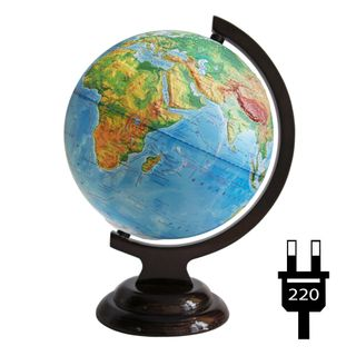 Physical relief globe with a diameter of 210 mm, on a wooden stand with backlight