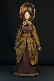 Doll gift porcelain. Secular suit. 2nd quarter of the 19th century. Petersburg. The European fashion.