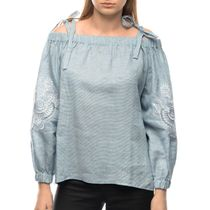 Blouse female 'Dion' blue with silk embroidery on the sleeves model 2385