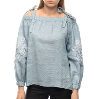 "Blouse female ""Dion"" blue with silk embroidery on the sleeves model 2385"