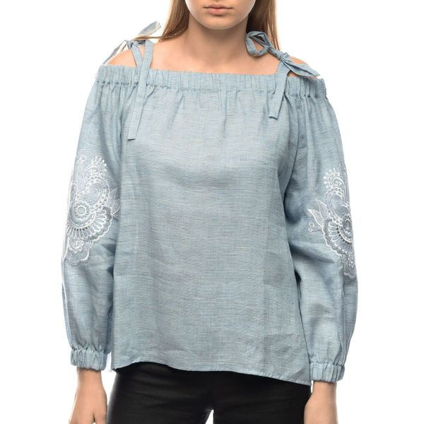 Women's blouse 'deion' blue with silk embroidery